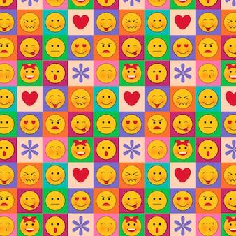 Emoticons em modelo de padrão sem emenda de quadrados