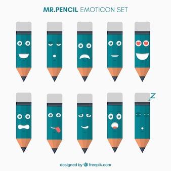 Emoticons engraçados com em forma de lápis
