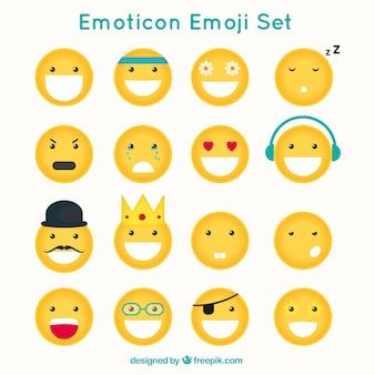 Emoticons engraçados com faces diferentes