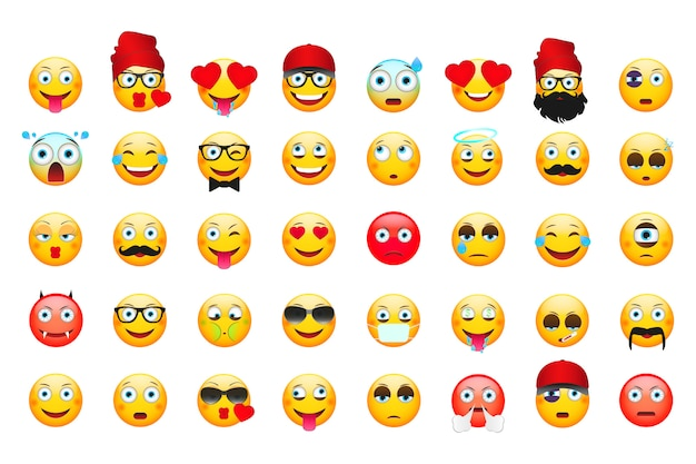 Emoticons isolados no branco