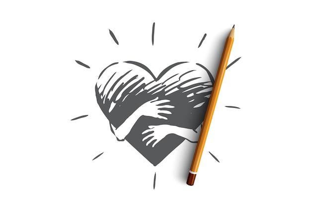 Empatia, coração, amor, caridade, conceito de suporte. mão desenhada mãos abraçando o esboço do conceito de coração.