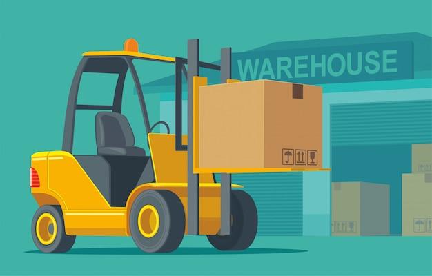 Empilhadeira carrega uma caixa de armazenamento