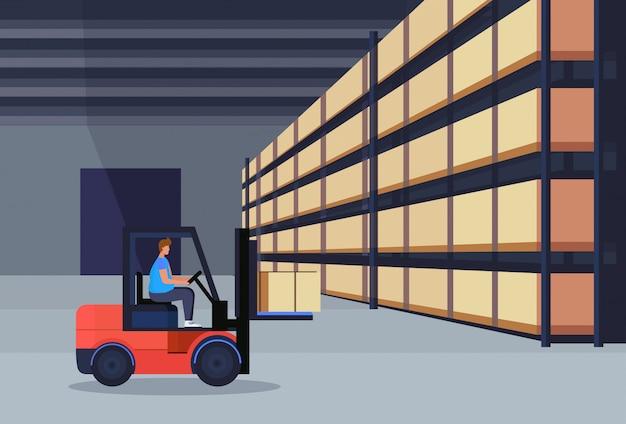 Empilhadeira, carregador, trabalhando, armazém, interior, pacote, caixa, ligado, cremalheira, logística, entrega, carga, serviço, conceito