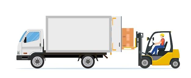 Empilhadeira carregando caixas de paletes no caminhão.