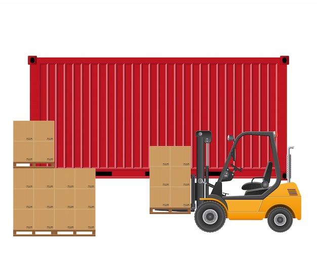 Empilhadeira carregando contêiner de carga.