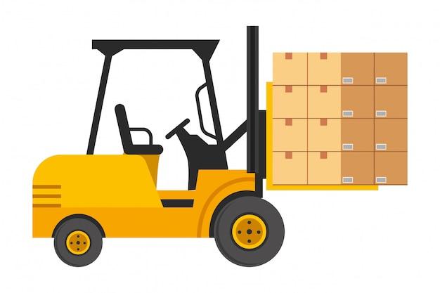 Empilhadeira com ilustração de caixas