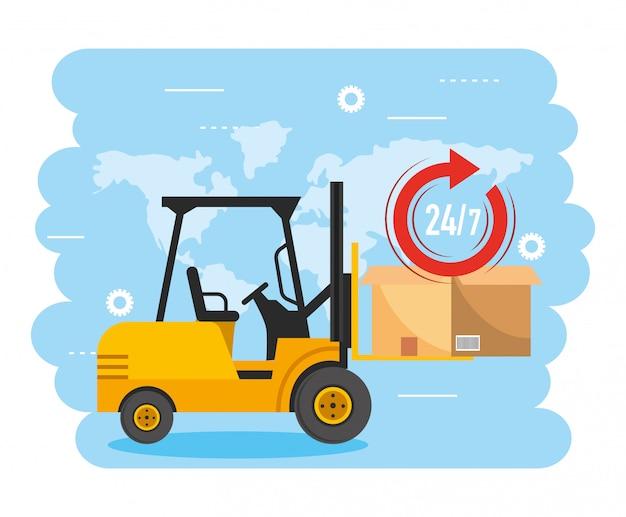Empilhadeira com pacote de caixa e serviço de entrega
