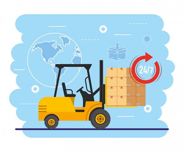 Empilhadeira com pacote de caixas e localização do mapa