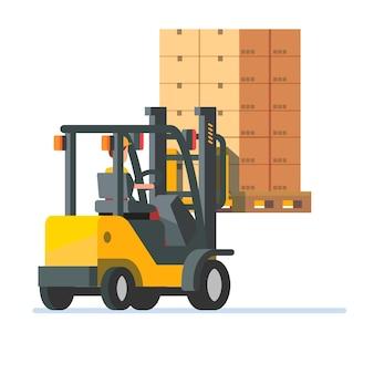 Empilhadeira com plataforma de caixas empilhadas
