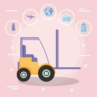 Empilhadeira com serviço de entrega com o conjunto de ícones