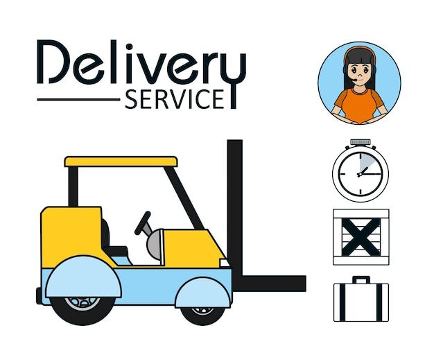 Empilhadeira com símbolos de entrega