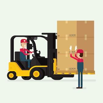 Empilhadeira com trabalhador humano e caixas
