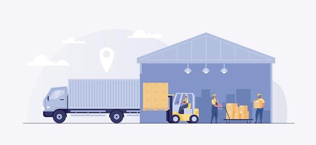 Empilhadeira de trabalho de caminhão de carregamento de armazém logístico.