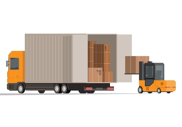 Empilhadeira e caminhão