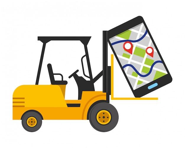 Empilhadeira e ilustração de celular