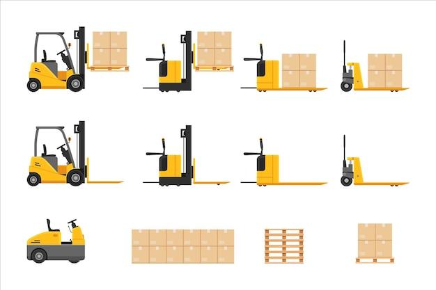Empilhadeira no trabalho definida com empilhamento de pacote de depósito de rack de caixa de papelão e armazenamento de armazém, mercadoria, remessa e ilustração vetorial de gestão logística isolada no fundo branco