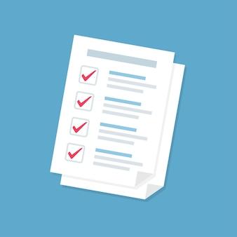 Empilhar folhas de papel de formulário de documento com lista de verificação em um design plano