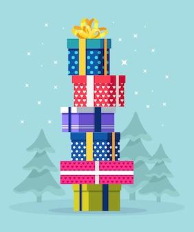 Empilhe caixas de gif. feliz natal ilustração