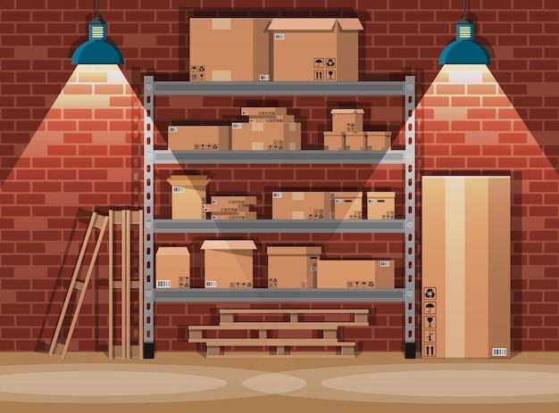 Empilhe caixas de papelão nas prateleiras de armazém