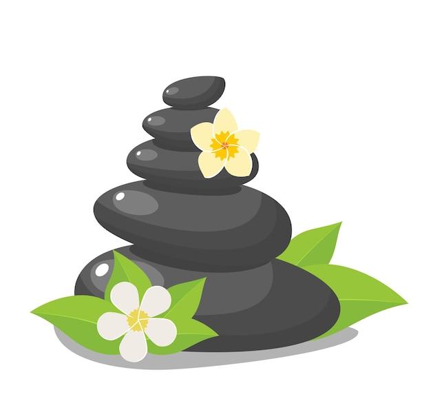 Empilhe pedras pretas quentes com folhas, acessório de salão de spa