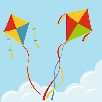 Empinar pipa no céu, colorir pipas acima das nuvens, diversão no festival de asas de verão.