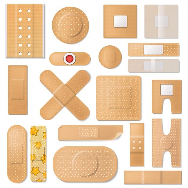 Emplastro de banda de vetor de bandagem e patch de proteção médica para conjunto de ilustração de primeiros socorros