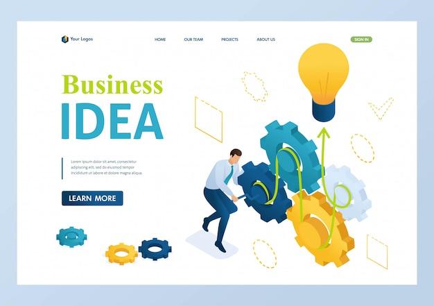 Empreendedor desenvolve uma ideia de negócio torce as engrenagens.