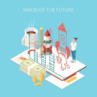 Empreendedor e composição isométrica de negócios com visão de futuro