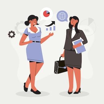 Empreendedoras confiantes desenhado à mão