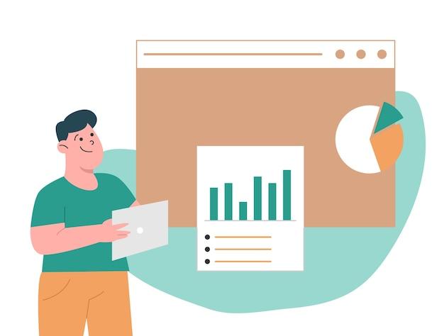 Empreendedores analisando relatório de dados Vetor Premium