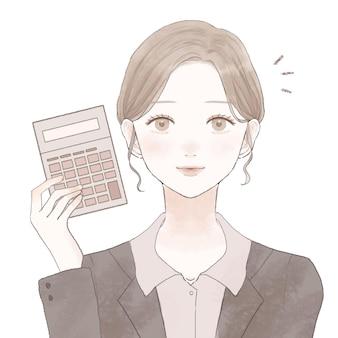 Empregada com calculadora. sobre um fundo branco. design simples e bonito.
