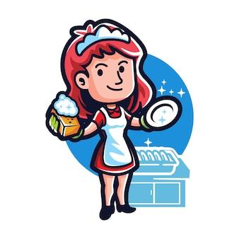 Empregada doméstica de casa limpa dos desenhos animados