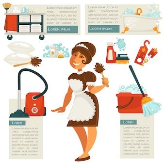 Empregada doméstica e material de limpeza do vetor.