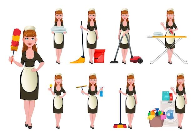 Empregada doméstica, faxineira sorridente, faxineira, conjunto de nove poses
