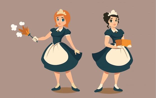 Empregadas domésticas com espanador e pilha de roupa ou toalha