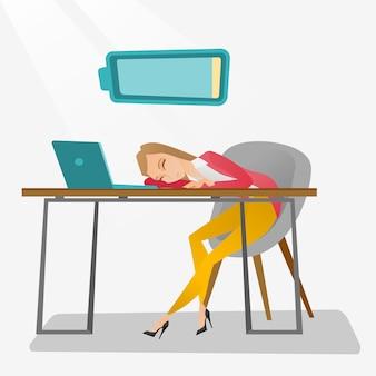 Empregado cansado que dorme no local de trabalho.