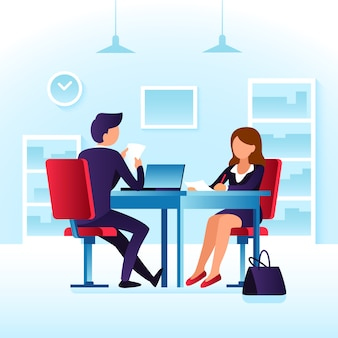 Empregado, contendor, mulher, e, impressionado, empregador profissional, homem entrevistador