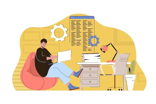 Empregado de conceito de coworking de cultura ou freelancer trabalhando em um laptop no escritório