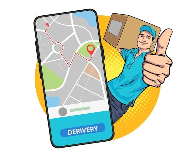 Empregado de entregador carregando caixa grande bateu para fora do estilo de quadrinhos pop art de smartphone.