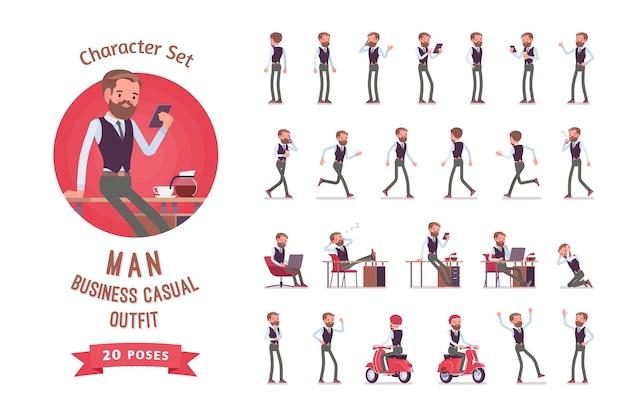 Empregado de escritório do sexo masculino em conjunto de criação de personagem no local de trabalho moderno