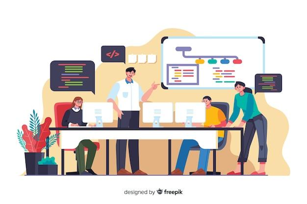 Empregado de programadores dos desenhos animados, trabalhando em equipe