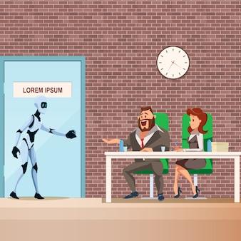 Empregado de robô entra na porta para entrevista de emprego