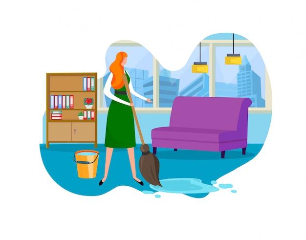 Empregado de serviço feminino de limpeza trabalhando no escritório