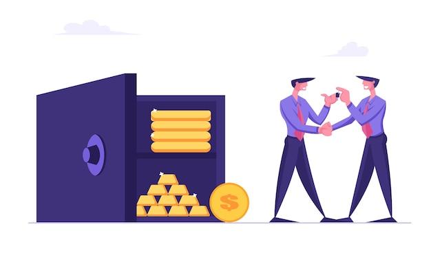 Empregado do banco empresário dando a chave do cofre para a caixa de depósito do homem de negócios