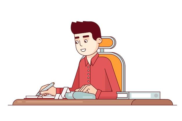 Empregado do escritório que faz cálculos de despesa