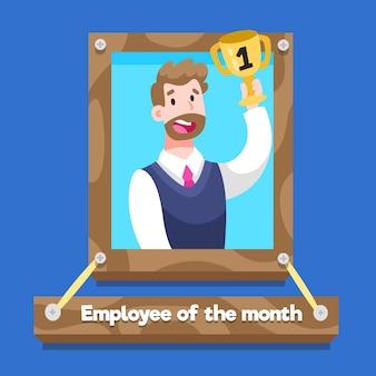 Empregado do homem do mês com copo