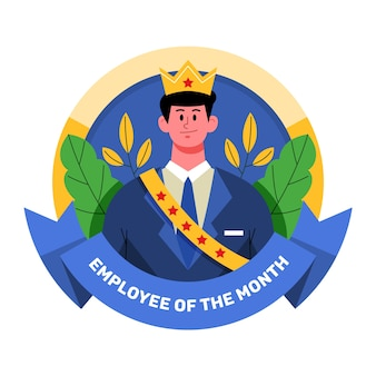 Empregado do homem do mês com coroa