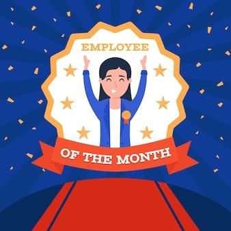 Empregado do mês com fita vermelha