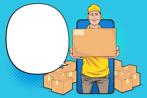 Empregado entregador com bigbox no smartphone, conceito online de compras pop art comic style