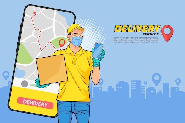 Empregado entregador com navigation fast serviço de entrega online pedido online pop art comic style